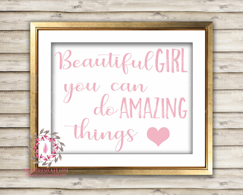 Boho Beautiful Girl You Can Do Amazing Things Baby Nursery Printable Wall Art Print Blush Pink Home Decor