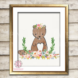 Beaver Woodland Boho Bohemian Floral Nursery Baby Girl Room Printable Print Wall Art Decor