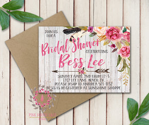 Baby Bridal Shower Birthday Invites Party Wedding Invitation Save The Date Announcement Invite Feathers Tribal Woodland Watercolor Floral Rustic Printable Art Stationery Card