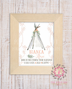 Boho Baby Birth Stats Announcement Girl Feathers Teepee Tribal Woodland Nursery Room Printable Print Wall Art Decor