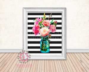 Mason Jar Black White Stripe Watercolor Floral Boho Printable Print Wall Art Home Decor