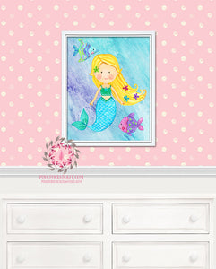 Mermaid Baby Girl Room Printable Wall Art Print Fish Nursery Decor