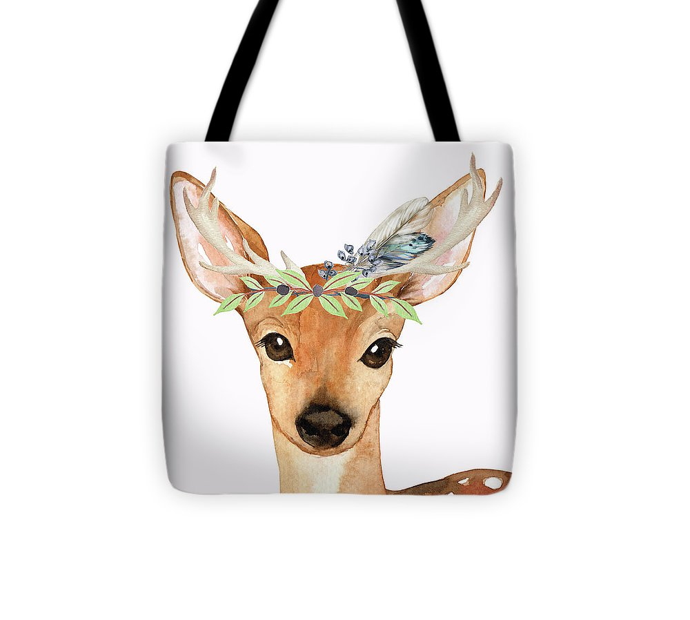 Blue Feather Woodland Boho Deer - Tote Bag