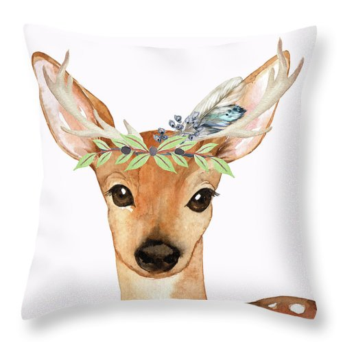 Blue Feather Woodland Boho Deer - Throw Pillow