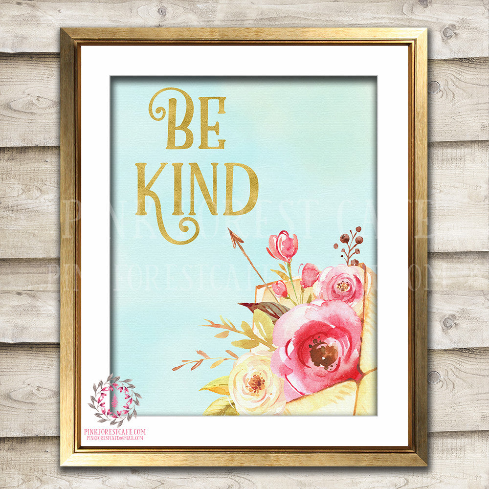 Be Kind Boho Nursery Decor Baby Girl Wall Art Watercolor Floral Printable Print