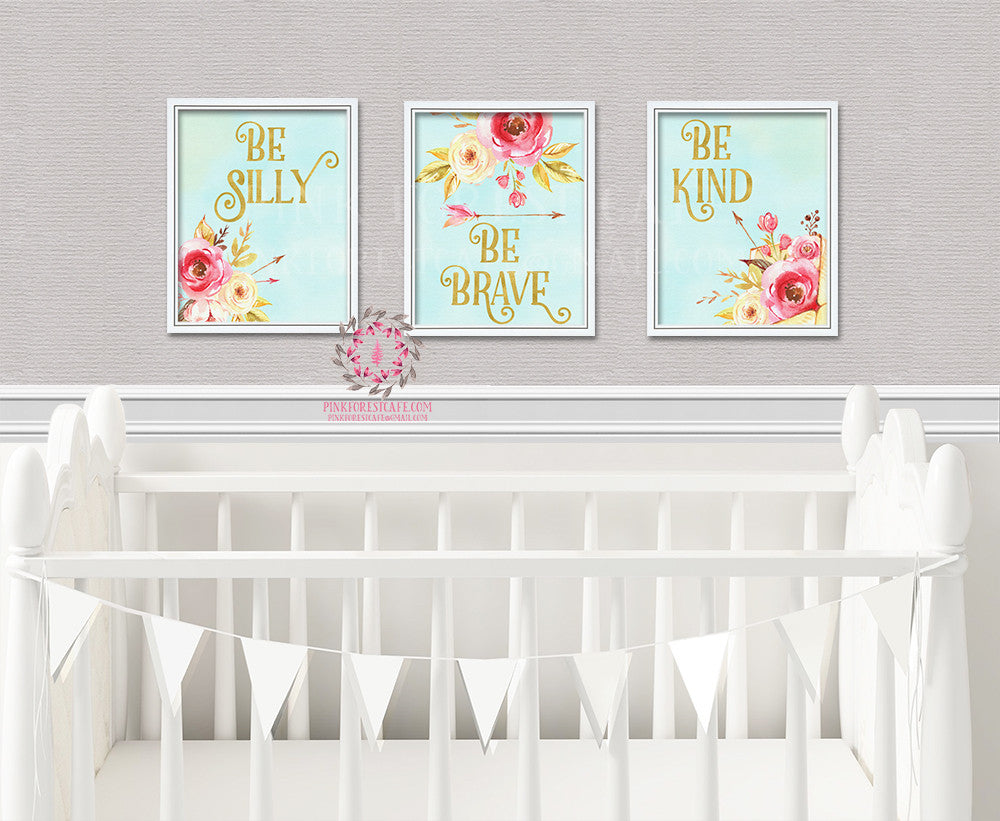 Be Silly Kind Brave Set Boho Nursery Decor Baby Girl Wall Art Watercolor Floral Printable Print