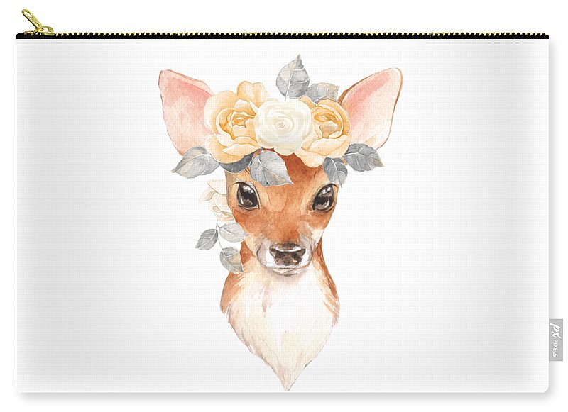 Blush Floral Deer - Carry-All Pouch