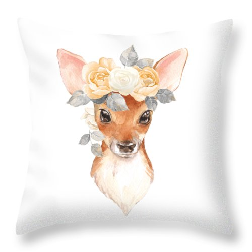 Blush Floral Boho Deer Woodland Nursery Throw Pillow Baby Girl Home Decor