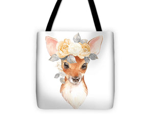 Blush Floral Deer - Tote Bag