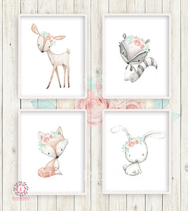 4 Deer Fox Bunny Rabbit Raccoon Boho Printable Print Wall Art Woodland Mint Blush Pink Bohemian Floral Nursery Baby Girl Room Set Lot Prints Decor