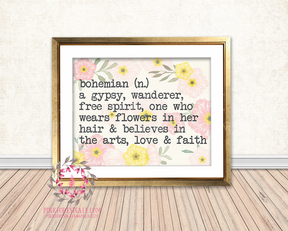 Bohemian Gypsy Definition Boho Tribal Woodland Baby Girl Nursery Room Printable Print Wall Art Decor