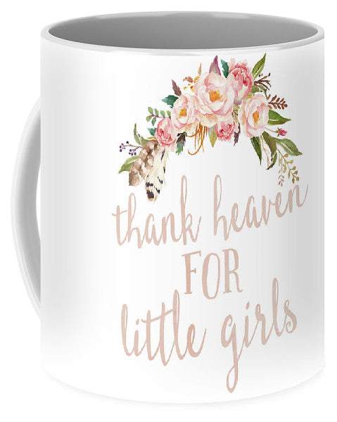 Boho Blush Thank Heaven For Little Girls Nursery Watercolor Decor Coffee Cup Mug