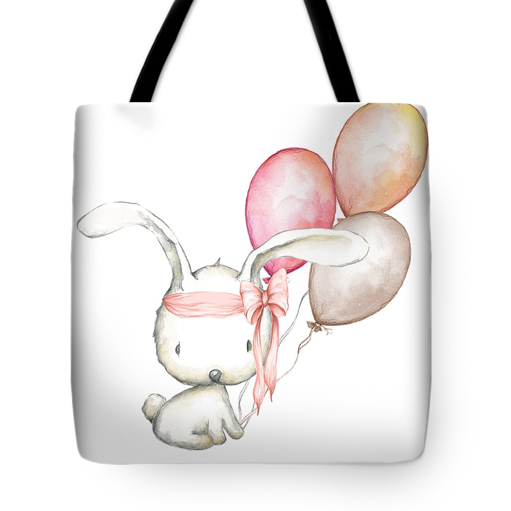 Boho Bunny With Balloons - Tote Bag