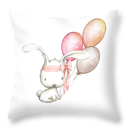 Boho Bunny With Balloons Baby Girl Nursery Throw Pillow