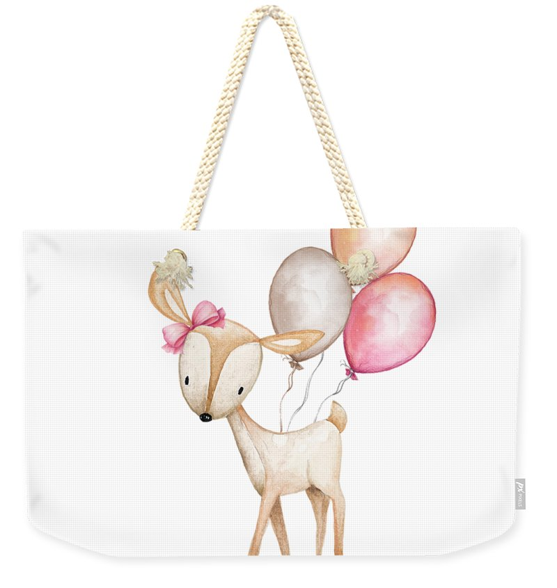 Boho Deer With Balloons - Weekender Tote Bag