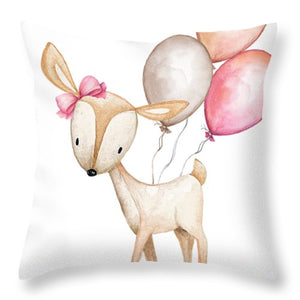 Boho Deer With Balloons Baby Girl Nursery Throw Pillow Woodland Decor