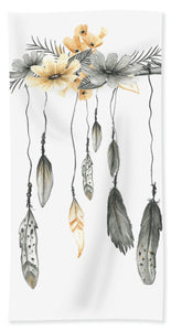 Boho Feathers Floral Branch - Beach Towel