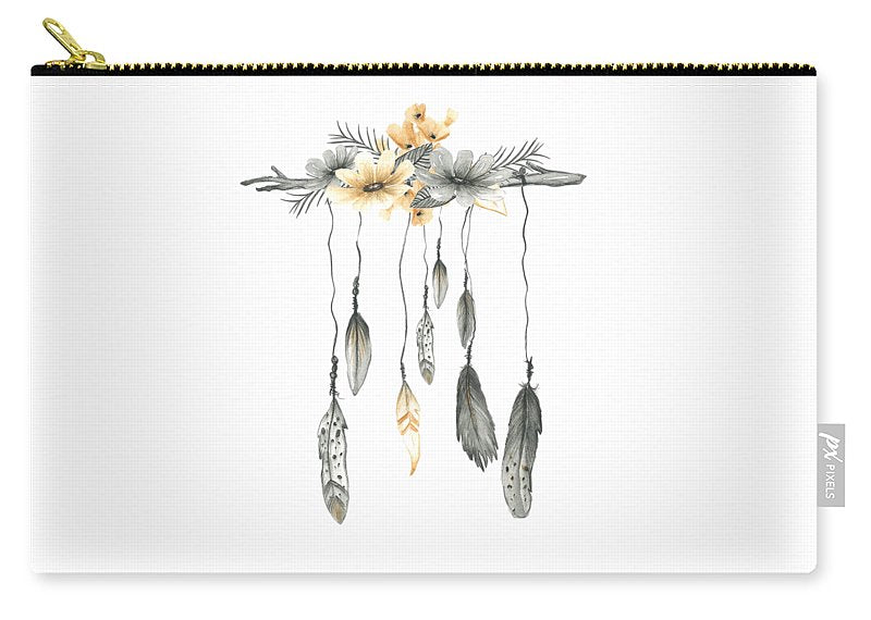 Boho Feathers Floral Branch - Carry-All Pouch