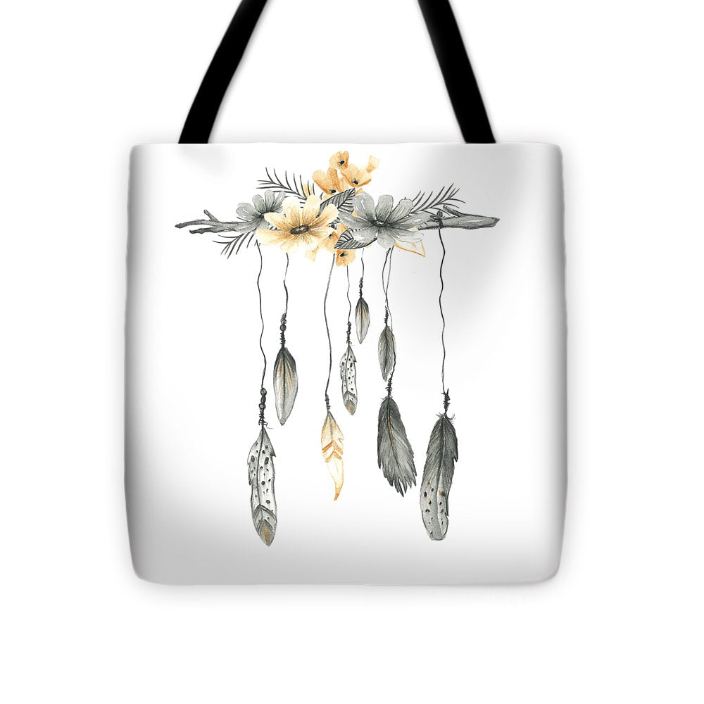 Boho Feathers Floral Branch - Tote Bag