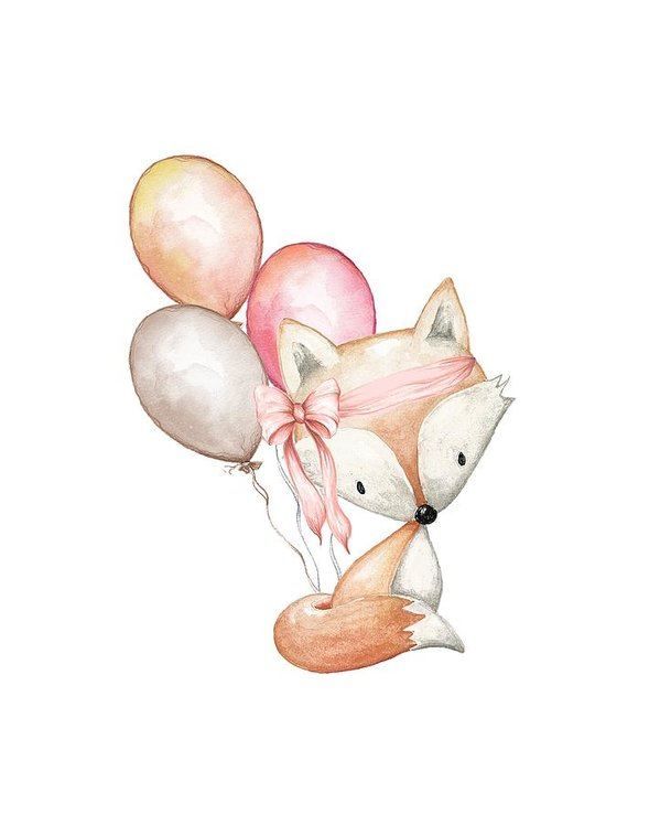 Boho Fox With Balloons - Art Print