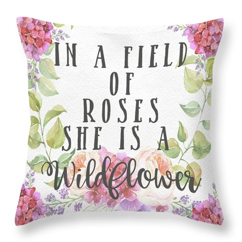 Boho In A Field Of Roses She Is A Wildflower Pillow Throw Pillow Baby Girl Nursery Home Decor