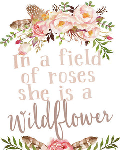 Boho In A Field Of Roses She Is A Wildflower Wall Art Print Baby Nursery Decor