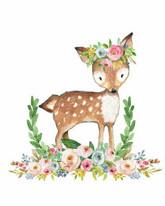 Boho Woodland Baby Girl Nursery Deer Floral Watercolor Wall Art Print