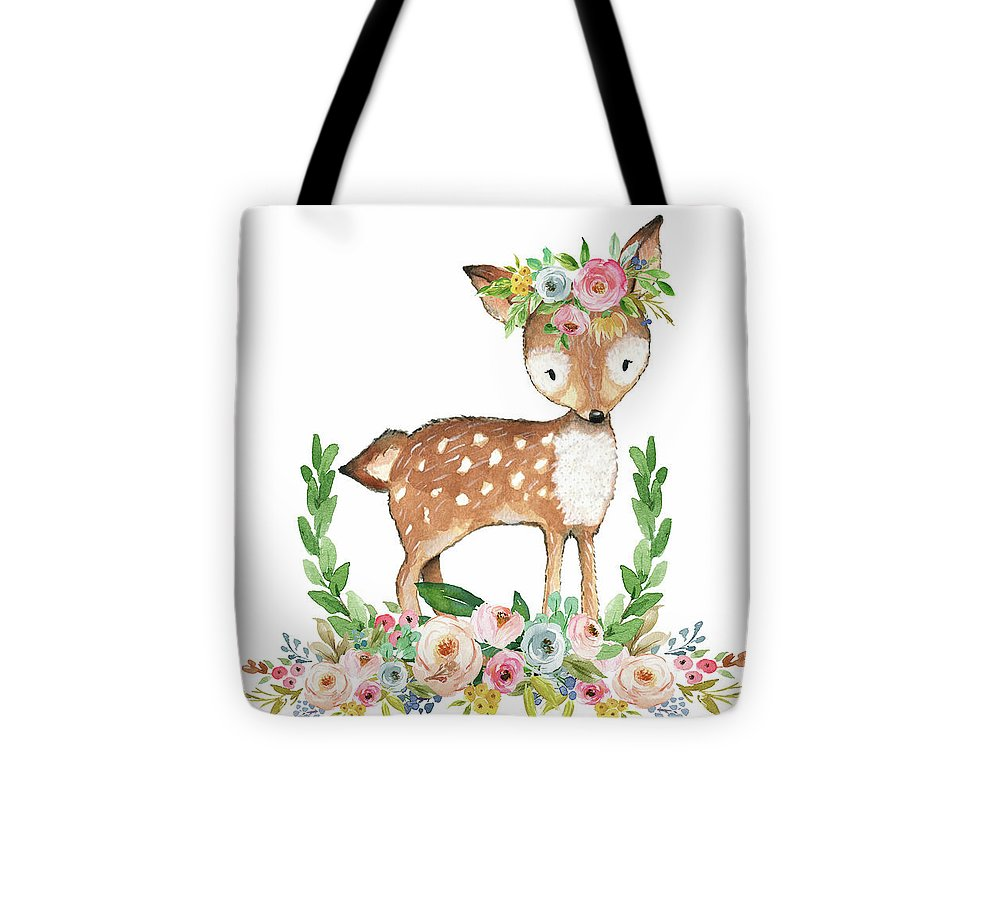 Boho Woodland Baby Nursery Deer Floral Watercolor - Tote Bag