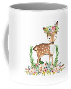 Boho Woodland Baby Nursery Deer Floral Watercolor - Mug