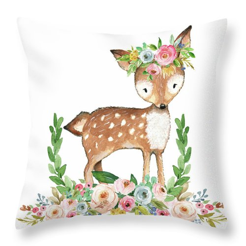 Boho Woodland Baby Nursery Deer Floral Watercolor Throw Pillow