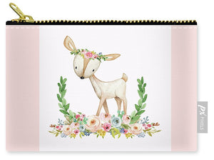 Boho Woodland Baby Nursery Deer Floral Watercolor Print - Carry-All Pouch