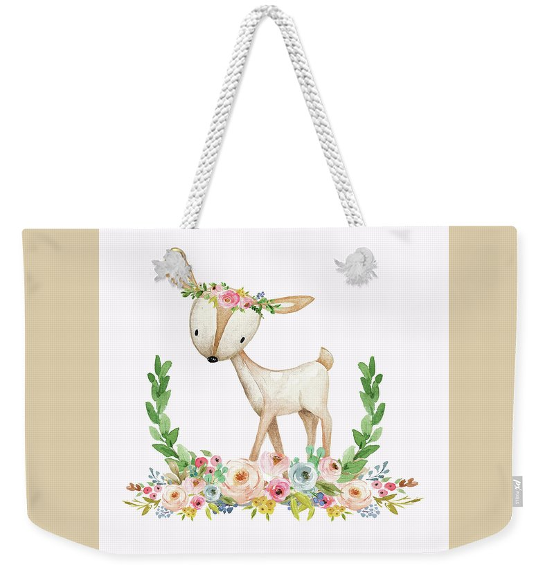 Boho Woodland Baby Nursery Deer Floral Watercolor Print - Weekender Tote Bag