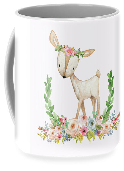 Boho Woodland Baby Nursery Deer Floral Watercolor Print - Mug