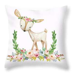 Boho Woodland Baby Nursery Deer Floral Watercolor Print Baby Girl Throw Pillow Nursery Decor