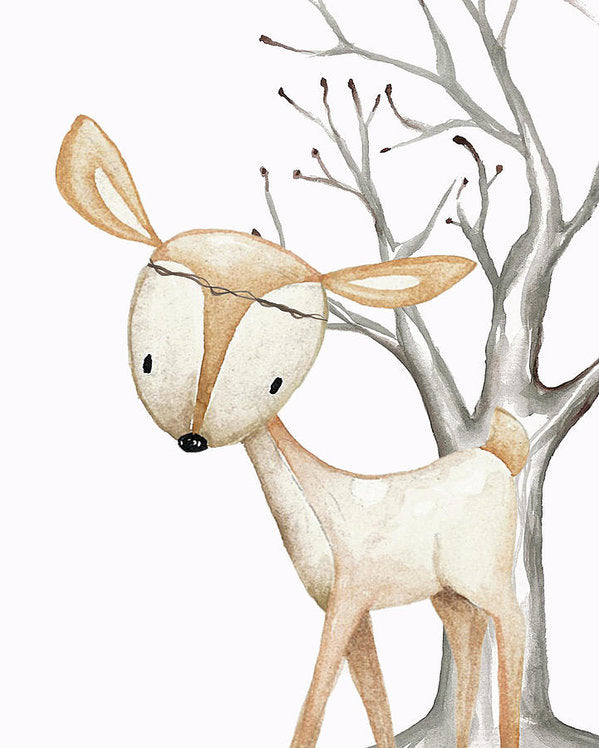 Boho Woodland Deer Twine Watercolor Wall Art Print Poster Baby Nursery Kids Boy Girl Decor