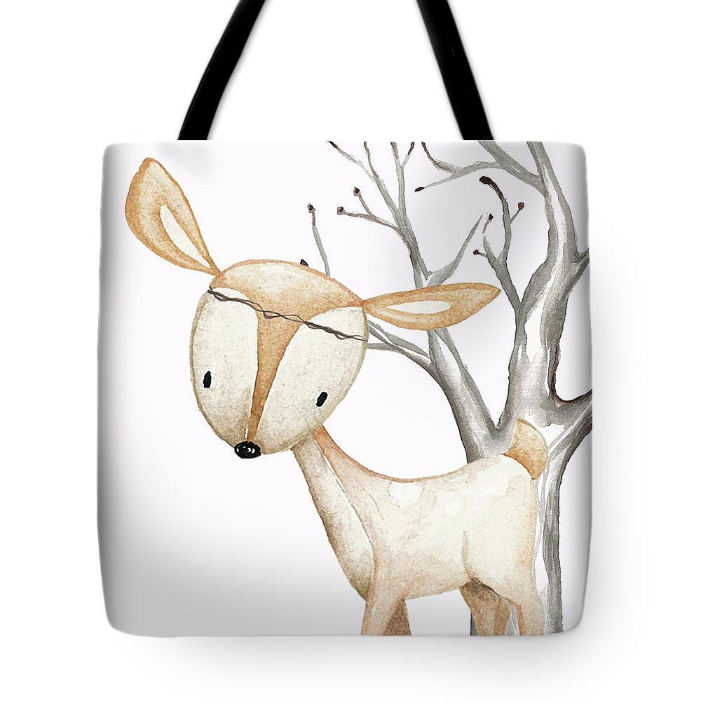Boho Woodland Baby Nursery Deer Twine Watercolor - Tote Bag