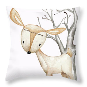 Boho Woodland Baby Nursery Deer Twine Watercolor Boy Girl Throw Pillow
