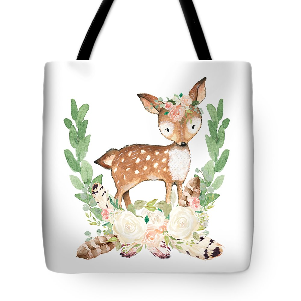 Boho Woodland Blush Dear With Feathers - Tote Bag