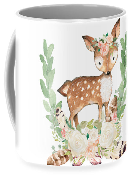 Boho Woodland Blush Dear With Feathers - Coffee Cup Mug