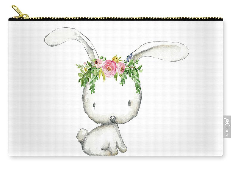 Boho Woodland Bunny Floral Watercolor - Carry-All Pouch