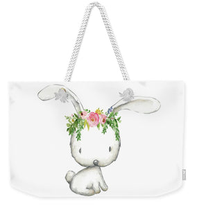 Boho Woodland Bunny Floral Watercolor Weekender Tote Bag Baby Girl Diaper Canvas