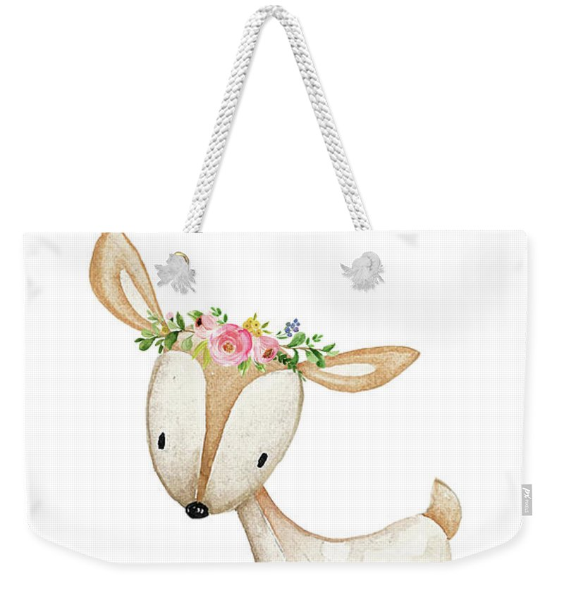 Boho Woodland Deer Watercolor Floral Decor - Weekender Tote Bag