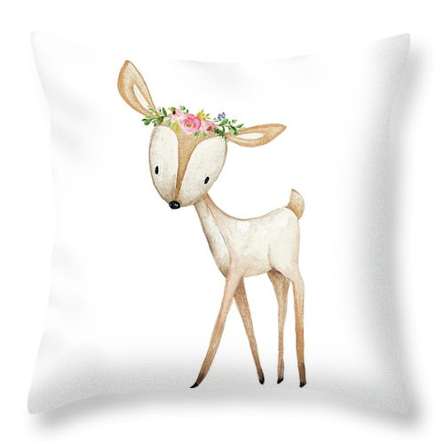 Boho Woodland Deer Watercolor Floral Decor Throw Pillow Baby Nursery Girl Room Home Decor