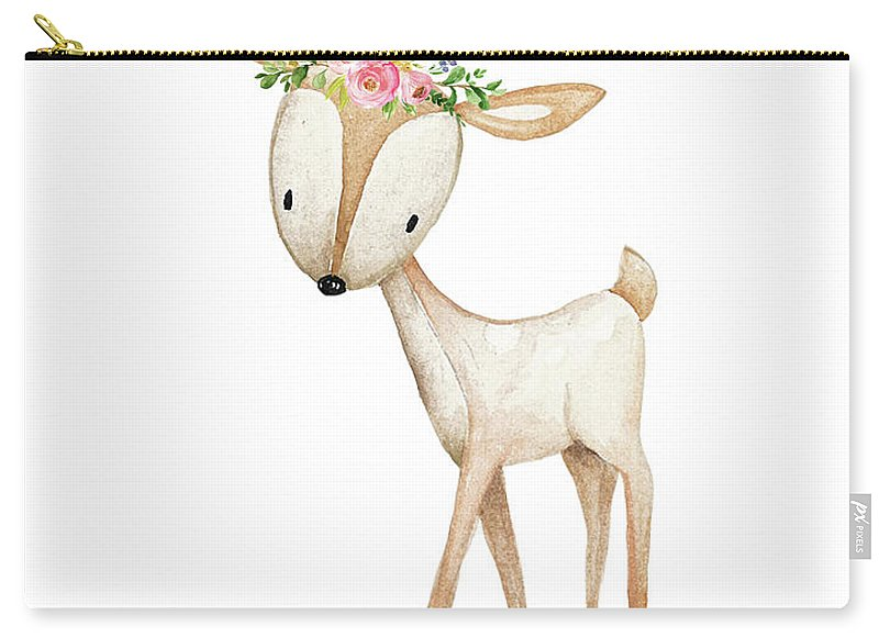 Boho Woodland Deer Watercolor Floral Decor - Carry-All Pouch