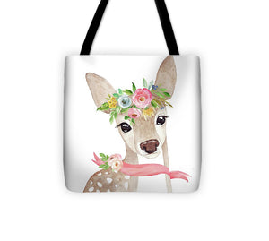 Boho Woodland Deer With Ribbon - Tote Bag