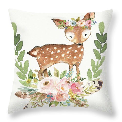 Boho Woodland Tribal Deer Watercolor Feathers Throw Pillow Baby Nursery Decor