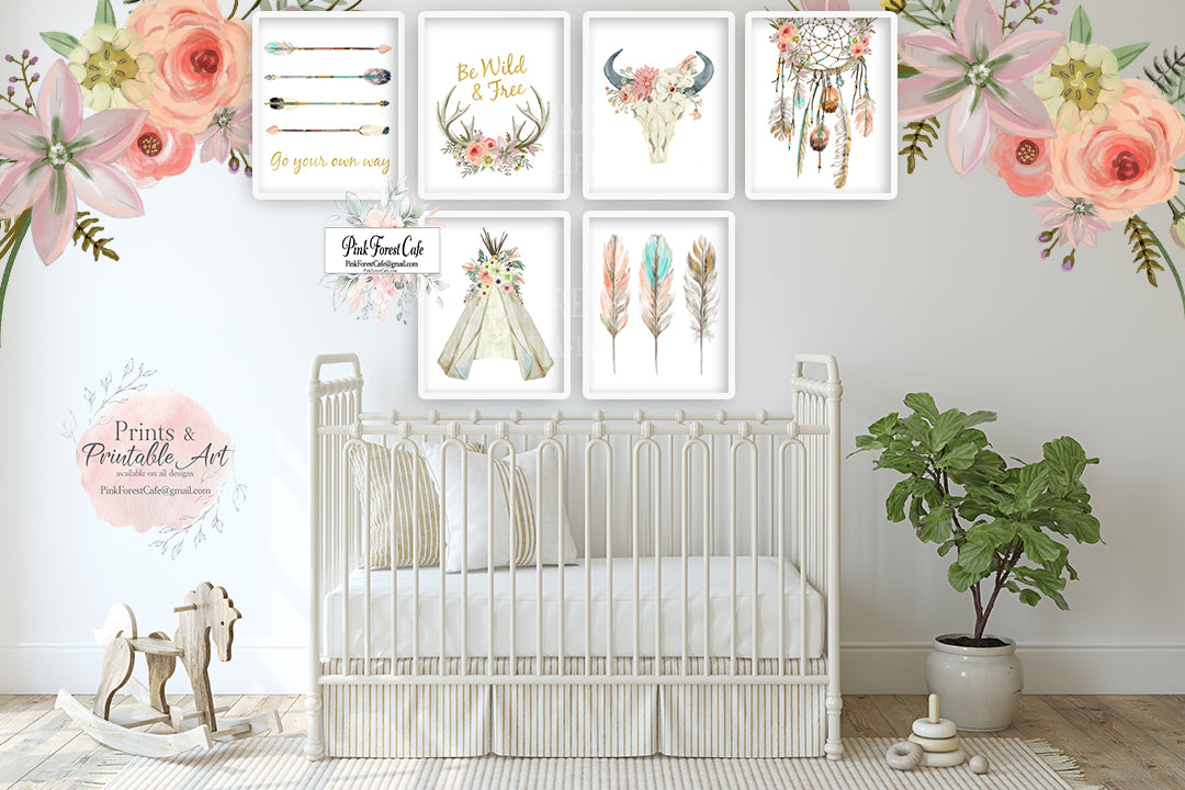 6 Boho Nursery Wall Art Print Teepee Antlers Dreamcatcher Feathers Wild Free Arrow Watercolor Gold Floral Baby Girl Room Prints Printable Bohemian Decor