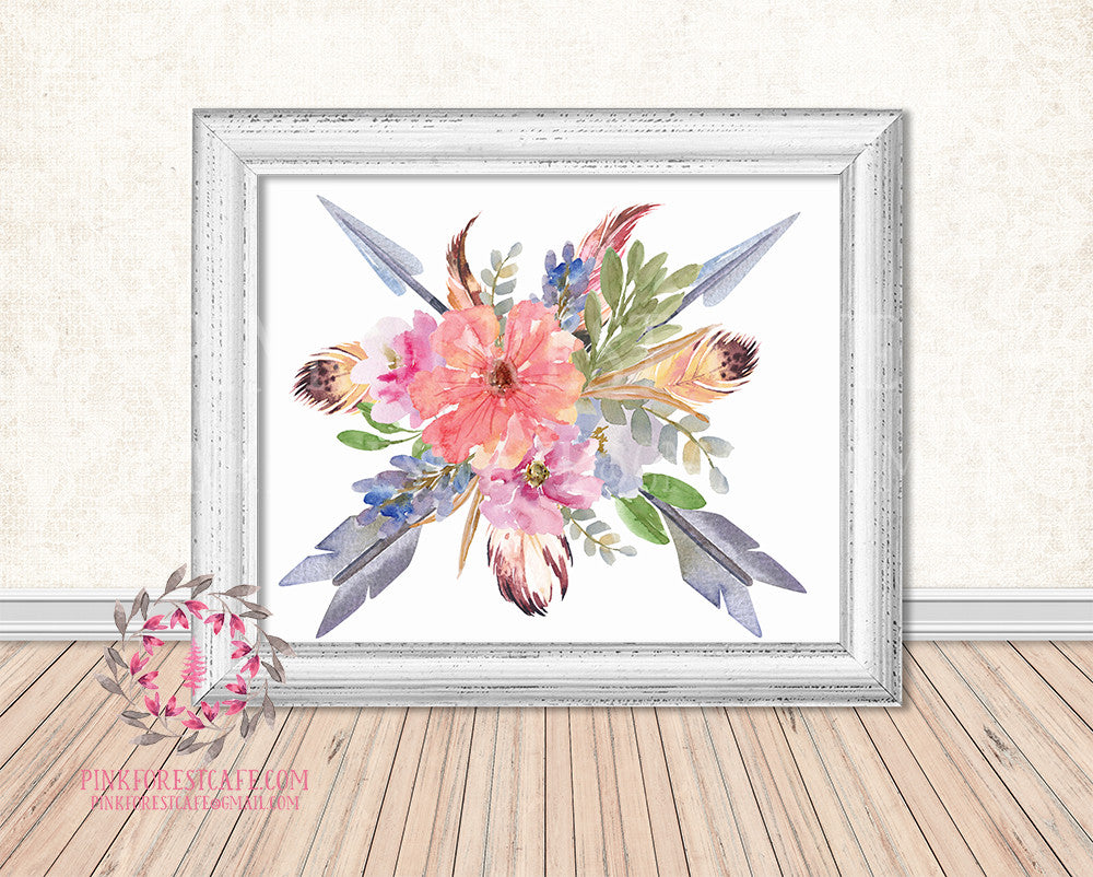 Boho Tribal Arrows Watercolor Floral Printable Wall Art Nursery Home Decor Print