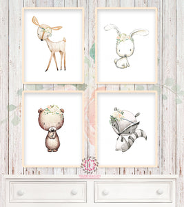 4 Deer Bear Bunny Rabbit Wall Art Print Woodland Boho Bohemian Floral Nursery Baby Girl Room Set Lot Prints Printable Decor
