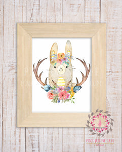 Woodland Bunny Rabbit Watercolor Boho Printable Wall Art Print Nursery Kids Room Decor